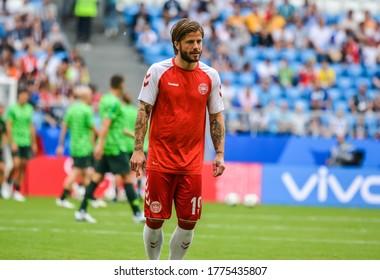 Samara, Russia – June 21, 2018. Denmark national football team midfielder Lasse Schone during FIFA World Cup 2018 match Denmark vs Australia.