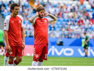 Samara, Russia – June 21, 2018. Denmark national football team players Thomas Delaney and Lasse Schone during FIFA World Cup 2018 match Denmark vs Australia.