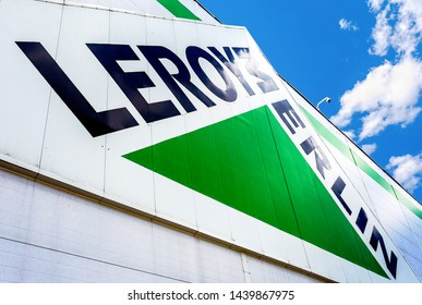 Samara, Russia - June 22, 2019: Leroy Merlin brand sign against blue sky. Leroy Merlin is a French home-improvement and gardening retailer