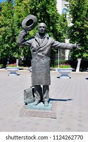Samara, Russia - June 23, 2018 - Statue of Yuriy Detochkin from a Soviet (1966) crime comedy-drama film 'Uncommon Thief, or Watch out for the Automobile'