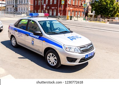 Samara, Russia - June 23, 2018: Russian police patrol car of the State Automobile Inspectorate parked up on the city street in summer day