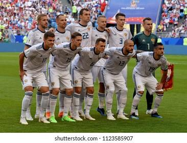 Samara, Russia - June 25, 2018. National team of Russia before FIFA World Cup 2018 match Uruguay vs Russia