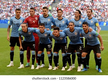 Samara, Russia - June 25, 2018. National team of Uruguay before FIFA World Cup 2018 match Uruguay vs Russia