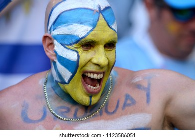 Samara, Russia - June 25, 2018. Fan from Uruguay with painted face and naked chest, during FIFA World Cup 2018 match Uruguay vs Russia.