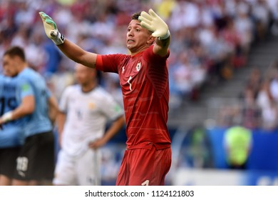 Samara, Russia - June 25, 2018. Uruguayan goalkeeper Fernando Muslera in his 100th match for Uruguay national team at FIFA World Cup 2018 against Russia.
