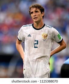 Samara, Russia - June 25, 2018. Russian defender Mario Fernandes during FIFA World Cup 2018 match Uruguay vs Russia.