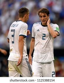 Samara, Russia - June 25, 2018. Russian defenders Ilya Kutepov and Mario Fernandes during FIFA World Cup 2018 match Uruguay vs Russia.
