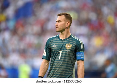 Samara, Russia - June 25, 2018. Russian goalkeeper Igor Akinfeev during FIFA World Cup 2018 match Uruguay vs Russia.