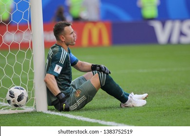 Samara, Russia, June, 25, 2018: Russian goalkeeper Igor Akinfeev concedes a goal against Russia in the 1/8 finals of the 2018 FIFA world Cup at the match Uruguay-Russia