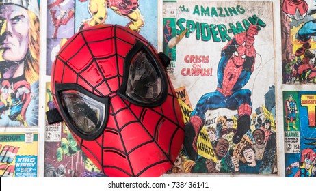 Samara, Russia - June 25,2017 ;   Spiderman mask.Spiderman is a popular character of Marvel.