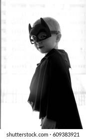 Samara, Russia-  March 13,2017; The boy in Batman costume. Batman a popular character Marvel