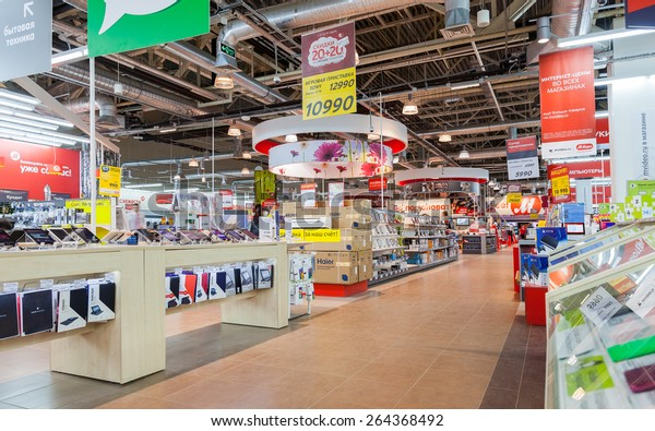 SAMARA, RUSSIA - MARCH 14, 2015: Interior of the electronics shop M-Video. Is the largest Russian consumer electronic retail chain