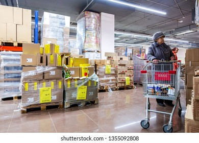Samara, Russia - March 31, 2019: Interior of the retail discounter Svetofor. One of retail warehouse store in russia, selling food, furniture and housewares