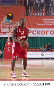 SAMARA, RUSSIA - MAY 03: Patrick Beverley of BC Spartak gets ready to throw from the free throw line in a game against BC Krasnye Krylia on May 03, 2012 in Samara, Russia.