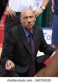 SAMARA, RUSSIA - MAY 03: Time out. Coach of BC Triumph Vasiliy Karasev during a timeout in the game against BC Krasnye Krylia on May 03, 2013 in Samara, Russia.