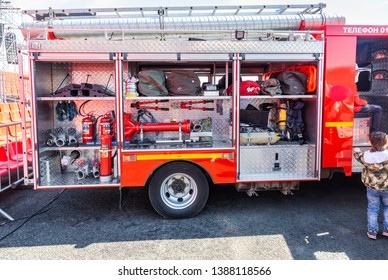Samara, Russia - May 1, 2019: Fire and rescue equipment in a fire truck. Rescue fire truck equipment