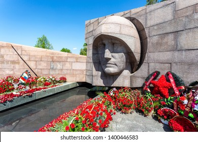 Samara, Russia - May 10, 2019: Memorial Complex and Eternal Fire on Glory Square and flowers in memory of the Victory in the Great Patriotic War