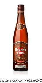 Samara, Russia - May 11, 2017. Bottle of Havana Club Anejo Reserva amber rum