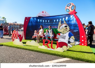 Samara, Russia - May 13, 2018: The 2018 World Cup Trophy Tour of Russia in the one of the host cities