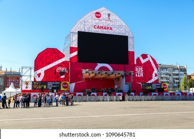 Samara, Russia - May 13, 2018: World Cup Trophy Tour of Russia in the one of the host cities