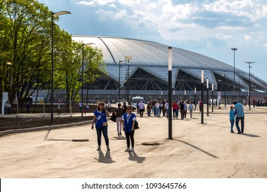 Samara, Russia - May 16, 2018: Samara Arena football stadium. Samara - the city hosting the FIFA World Cup in Russia in 2018