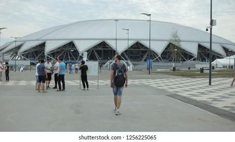 Samara, Russia - May 16, 2018: Samara Arena football stadium. Samara - the city hosting the FIFA World Cup in Russia. People in the foreground