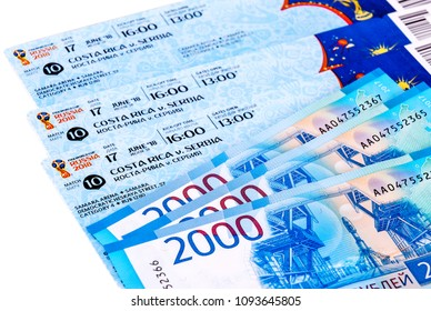 Samara, Russia - May 18, 2018: Tickets for the 2018 FIFA World Cup in Russia, Samara Arena, Costa Rica - Serbia. Russian banknotes