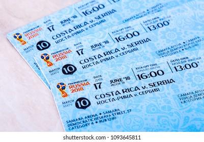 Samara, Russia - May 18, 2018: Tickets for the 2018 FIFA World Cup in Russia, Samara Arena, Costa Rica - Serbia