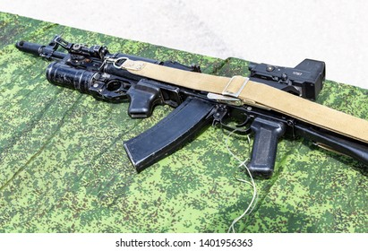 Samara, Russia - May 18, 2019: Kalashnikov ak-47 rifle with under-barrel grenade launcher