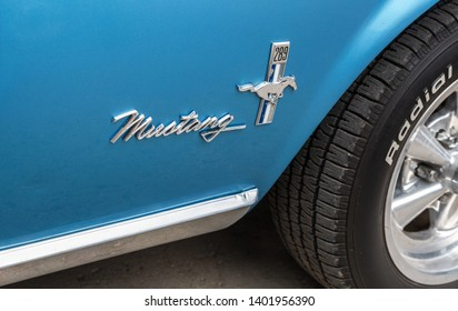 Samara, Russia - May 18, 2019: Emblem on the retro car Ford Mustang. The Ford Mustang is an American automobile manufactured by Ford