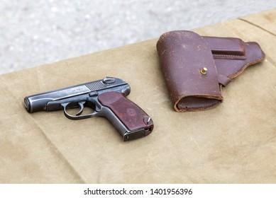 Samara, Russia - May 18, 2019: Old soviet Makarov army handgun and holster