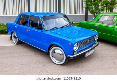 Samara, Russia - May 19, 2018: Vintage Russian automobile Lada-21011 at the city street