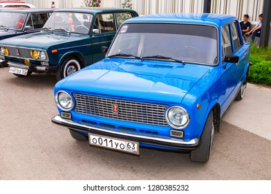 Samara, Russia - May 19, 2018: Vintage Russian automobile Lada-2101 at the parade of old cars and motor show