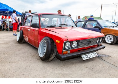 Samara, Russia - May 19, 2018: Old Russian automobile Lada with tuning wheels at the city street