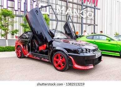 Samara, Russia - May 19, 2018: Tuned Russian automobile Lada at the city street