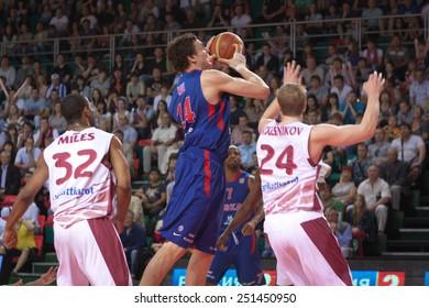 SAMARA, RUSSIA - MAY 19: Alexander Kaun of BC CSKA, with ball, is on the attack during a BC Krasnye Krylia game on May 19, 2013 in Samara, Russia.
