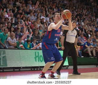 SAMARA, RUSSIA - MAY 19: Andrey Vorontsevich of BC CSKA, with ball, is on the attack during a BC Krasnye Krylia game on May 19, 2013 in Samara, Russia.