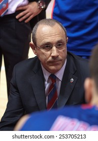 SAMARA, RUSSIA - MAY 19: Timeout. Head coach of BC CSKA Ettore Messina during a timeout of the game against BC Krasnye Krylia on May 19, 2013 in Samara, Russia.