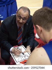 SAMARA, RUSSIA - MAY 20: Timeout. Head coach of BC CSKA Ettore Messina during a game against BC Krasnye Krylia on May 20, 2013 in Samara, Russia.