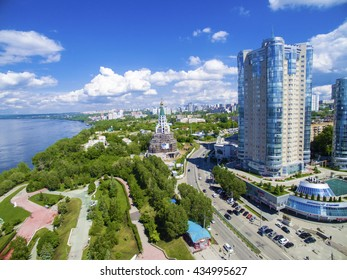 SAMARA, RUSSIA - MAY 21: Day view of the apartment complex Ladya, May 21 2016, Samara. The complex is located in the heart of the city of Samara on the Volga river