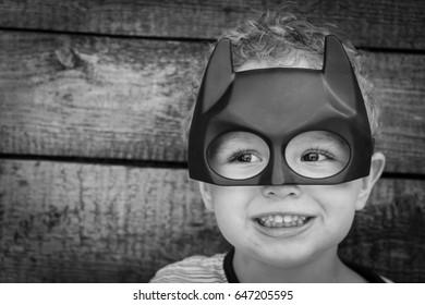 Samara, Russia - May 24,2017 ; The boy in Batman mask.Batman is a popular charactel Marvel.