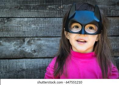 Samara, Russia - May 24,2017 ; The girl in Batman costume.Batman is a popular character for Marvel.