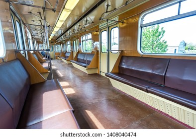 Samara, Russia - May 26, 2019: Interior view of the wagon train in subway