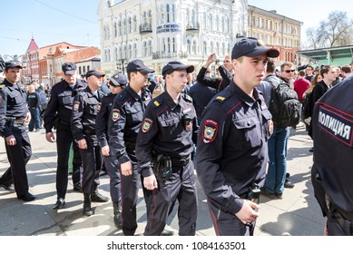 Samara, Russia - May 5, 2018: Police officers block an Leningradskaya street during an opposition protest rally ahead of President Vladimir Putin's inauguration ceremony
