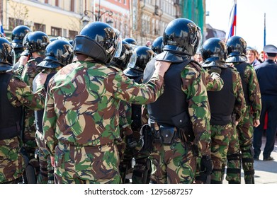 Samara, Russia - May 5, 2018: Counter terrorist squad fighters during an opposition protest rally