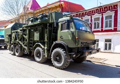 "Samara, Russia - May 5, 2018: Multi-purpose mobile communication complex. Telecommunication complex P-260T ""Redut-2US"" with antenna module R-431AM"