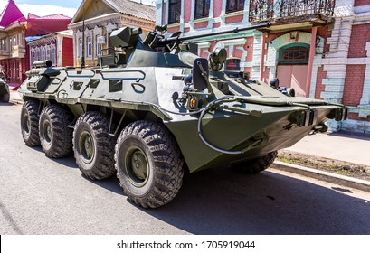 Samara, Russia - May 5, 2018: Russian Army BTR-82A wheeled armoured vehicle personnel carrier at the city street before the military parade