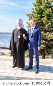 Samara, Russia - May 6, 2018: Metropolitan of Samara and Togliatti Sergius and Governor of the Samara region Dmitry Azarov