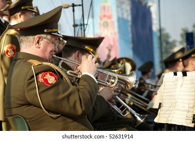SAMARA, RUSSIA - MAY 8 : Russian army brass band perform during Victory concert on May 8, 2010 in Samara, Russia.