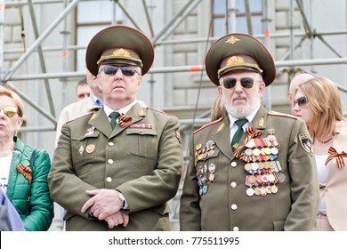 SAMARA, RUSSIA - MAY 9, 2017: Meeting of old friends on celebration on annual Victory Day, May, 9, 2017 in Samara, Russia